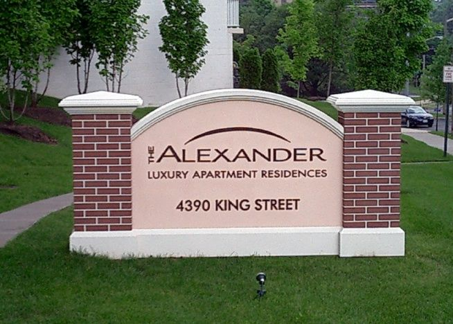 K20027 - EPS Address Monument Sign for Luxury Apartment Complex, Faux Brick Sign Pillars