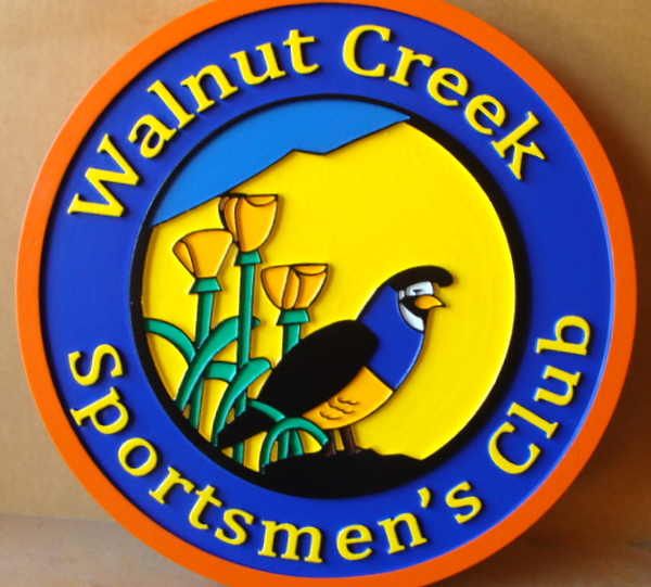 M1256 - Colorful Carved Wall Plaque for Walmit Vreek Sportsman's Club, with California Quail (Gallery 21)