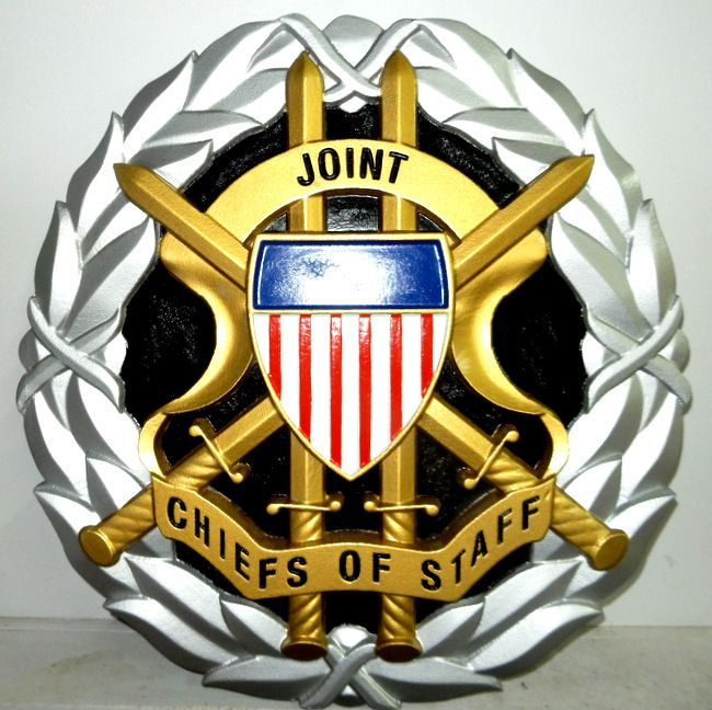 IP-1100 - Carved Plaque of the Seal/Crest of the Joint Chiefs of Staff (JCS), US DoD,  Artist Painted with Metallic Silver & Brass