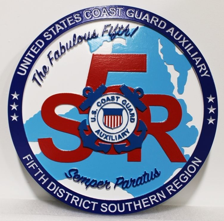 NP-2245 - Carved 2.5-D Multi-level HDU Plaque of the Crest of the US Coast Guard Auxiliary Fifth District Southern Region