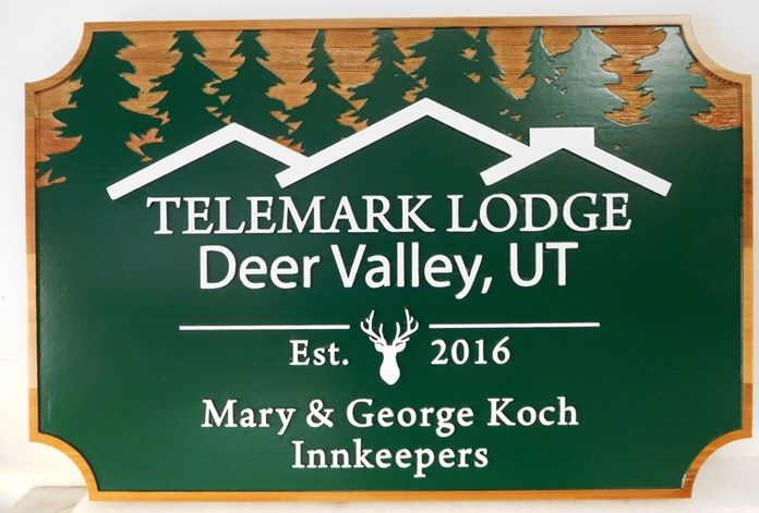 "T29021 - Carved  Cedar Wood Sign  for the ""Telemark Lodge"", 2.5-D with Trees and Lodge as Artwork"