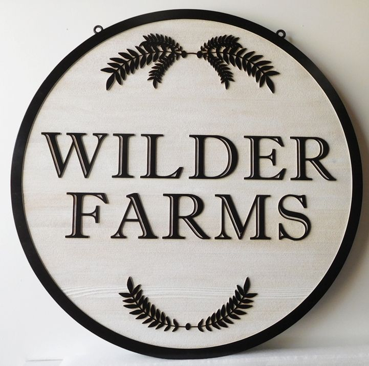 """O24730 - Carved Entrance Cedar Sign for  """"Wilder Farms"""" with  Leaves and Branches as Artwork."""