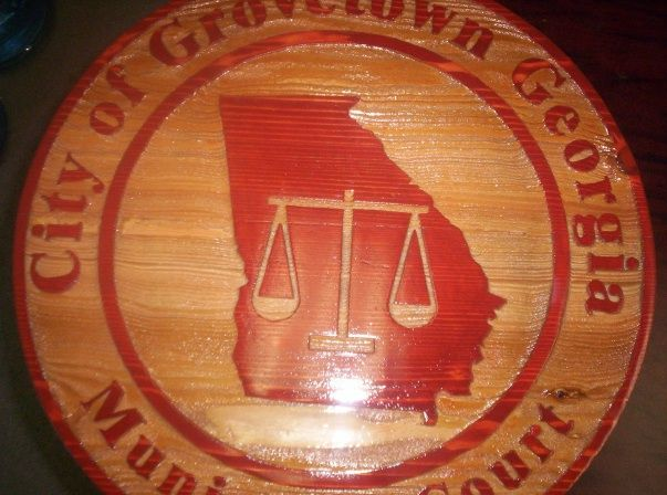 F15520 - Cedar Wood Sign for Municipal Court with Scales of Justice and Map of Georgia