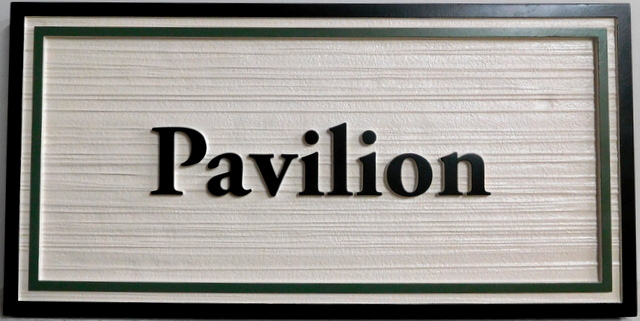 "SA28026 - Carved and Sandlasted (Wood Grain Pattern) HDU sign for ""Pavilion"""