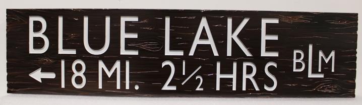 G16160 -  Engravedand sandblasted Cedar wood sign for a Bureau of Land Management Trail