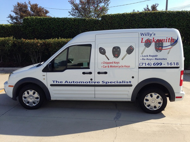 Ford Transit van graphics for locksmiths in Orange County