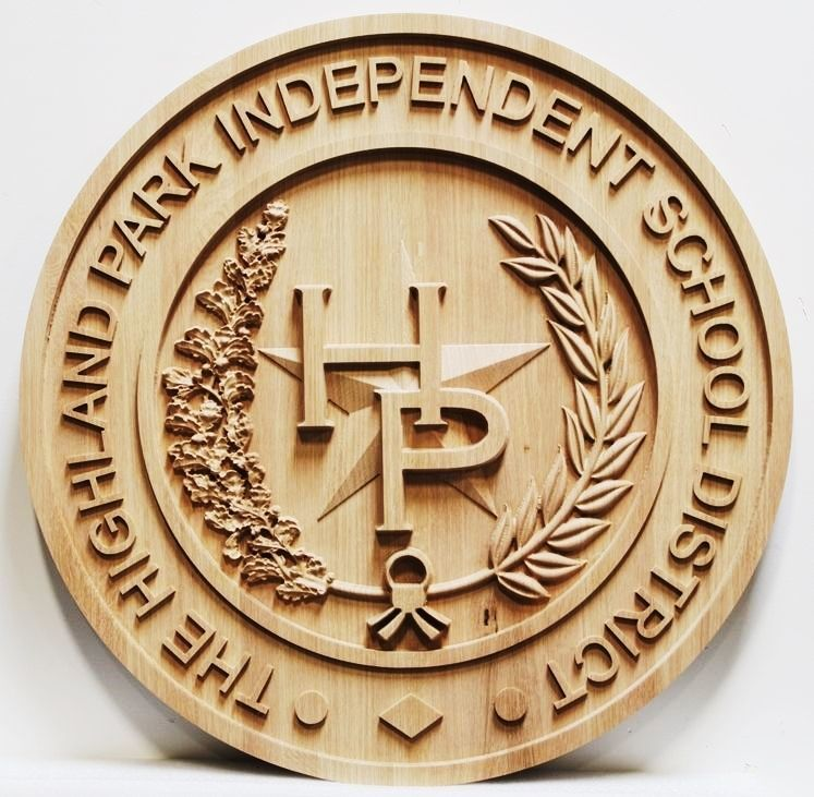 TP-1165 - Carved Maple Wood Wall Plaque of the Seal of the Highland Park Independent School District, University Park, Texas