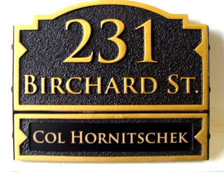 I18062 - Carved HDU Address Number Sign with Resident's Name