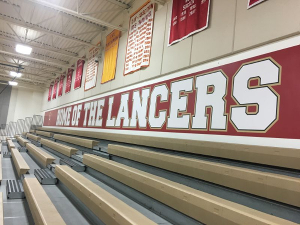 Gymnasium wall graphics at orange lutheran high school