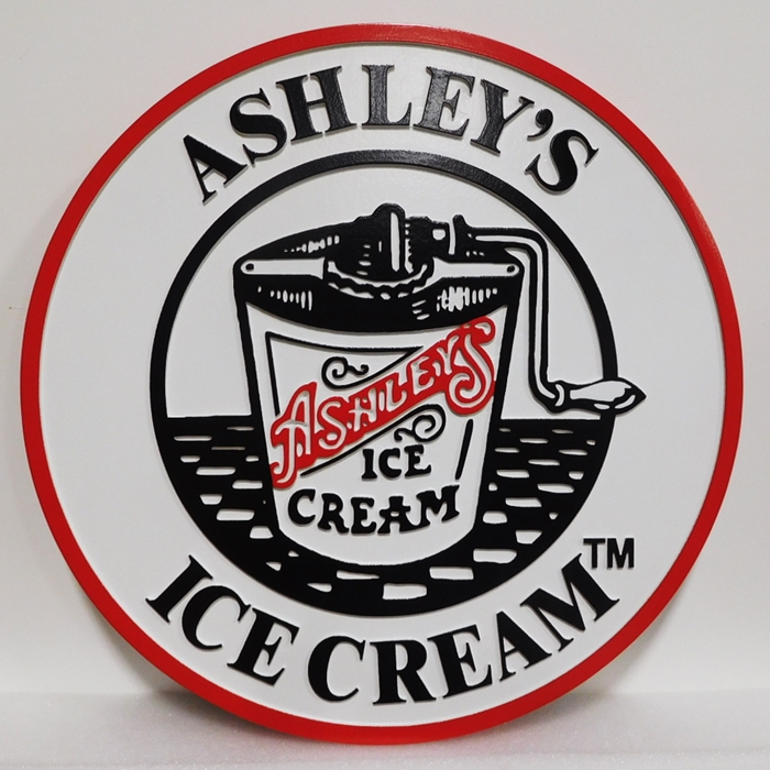 "Q25821- Carved Sign  ""Ashley's Ice Cream""  with 2.5-D  Raised Text  and  Artwork (a Hand-cranked Ice Cream Maker)"