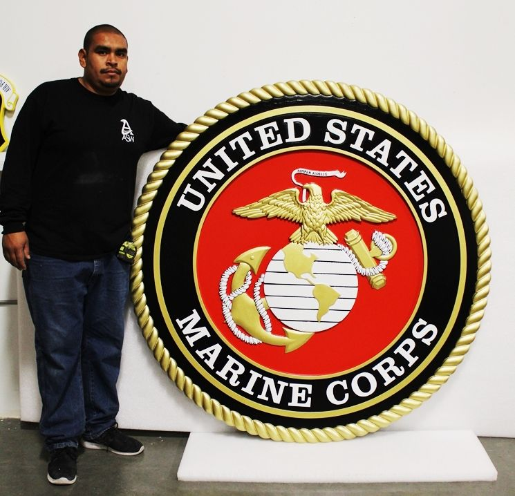 IP-1184- Large Carved Wall Plaque of the Emblem of the US Marine Corps, 3-D Artist-Painted