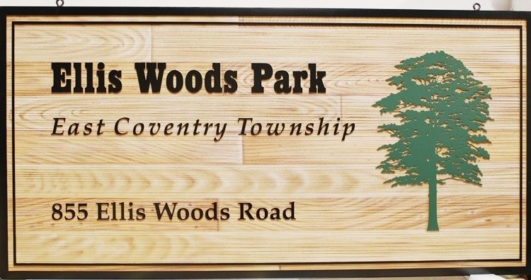 GA16415 - Carved 2.5-D  Entrance and Address  HDU Sign for the Ellis Woods Park, with a Tree and Wood Grain Patterns as Artwork