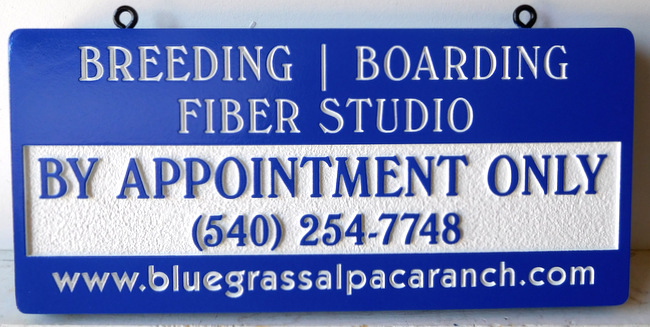 O24409 - Breeding, Boarding Fiber Carved Alpaca Ranch Sign
