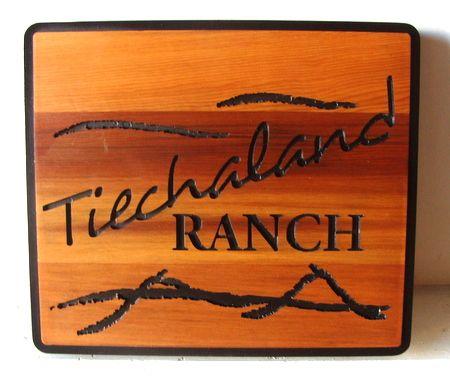 """O24905  - Engraved Cedar Ranch sign """"Tiechaland"""""""