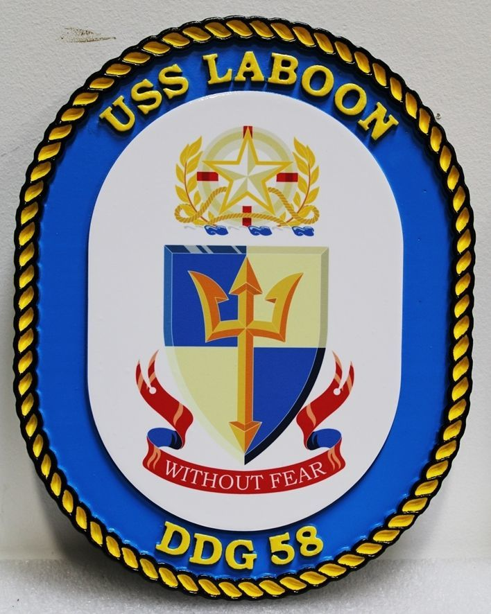 JP-1304 -   Carved 2.5-D HDU Plaque of the Crest of the  USS Laboon, DDG 58,  US Navy Destroyer
