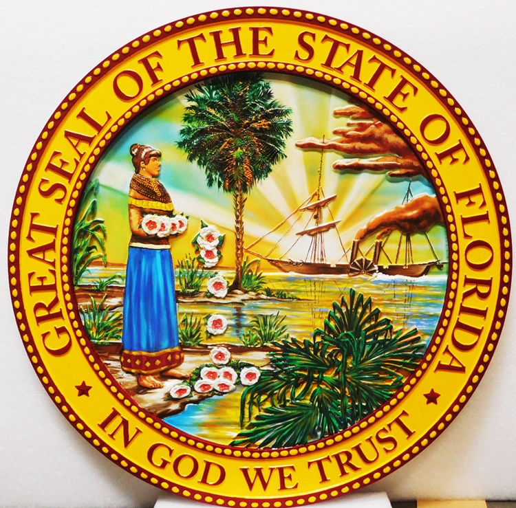 BP-1117- Carved Plaque of the Seal of the State of Florida,3D Artist-Painted Full Colors