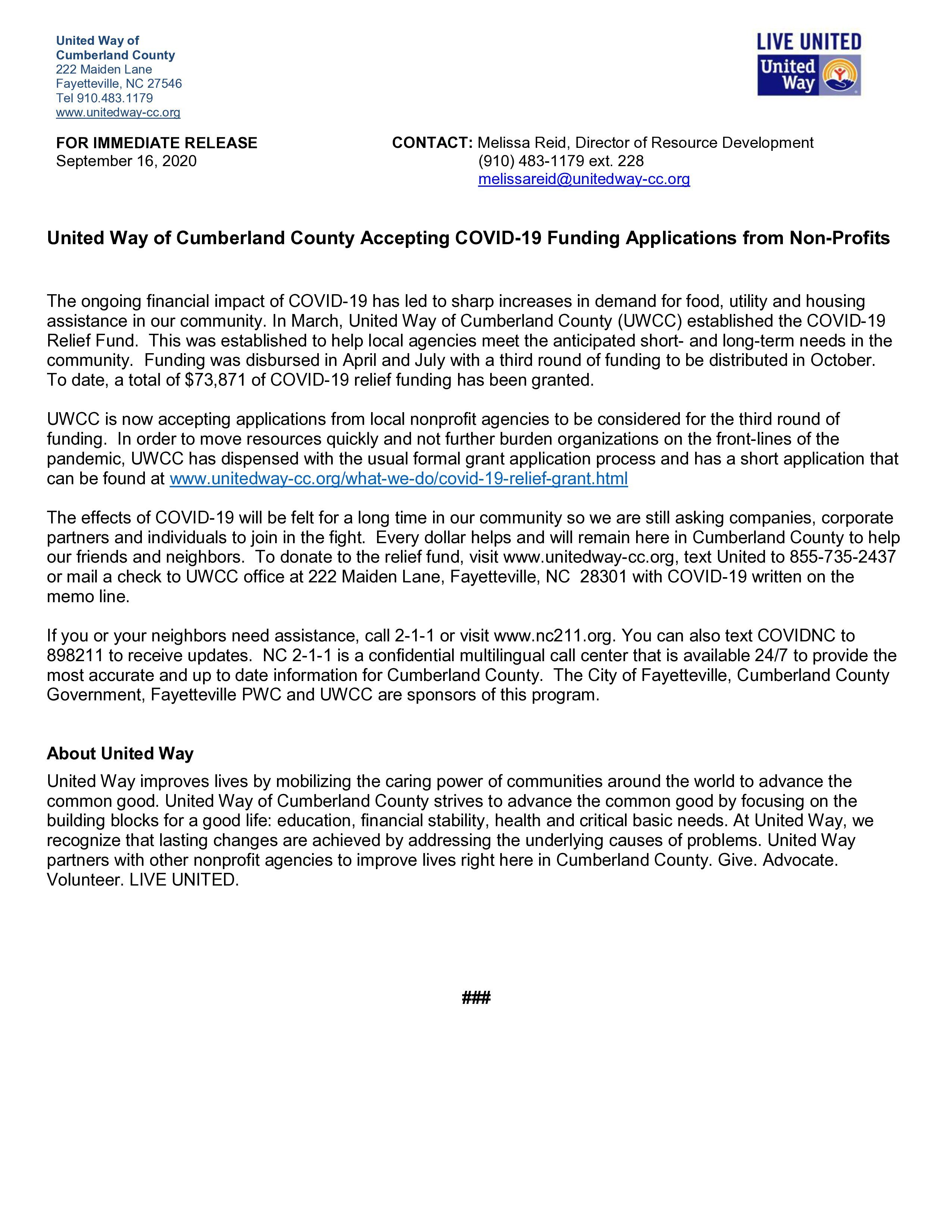 UNITED WAY OF CUMBERLAND COUNTY ACCEPTING COVID-19 FUNDING APPLICATIONS FROM NONPROFITS