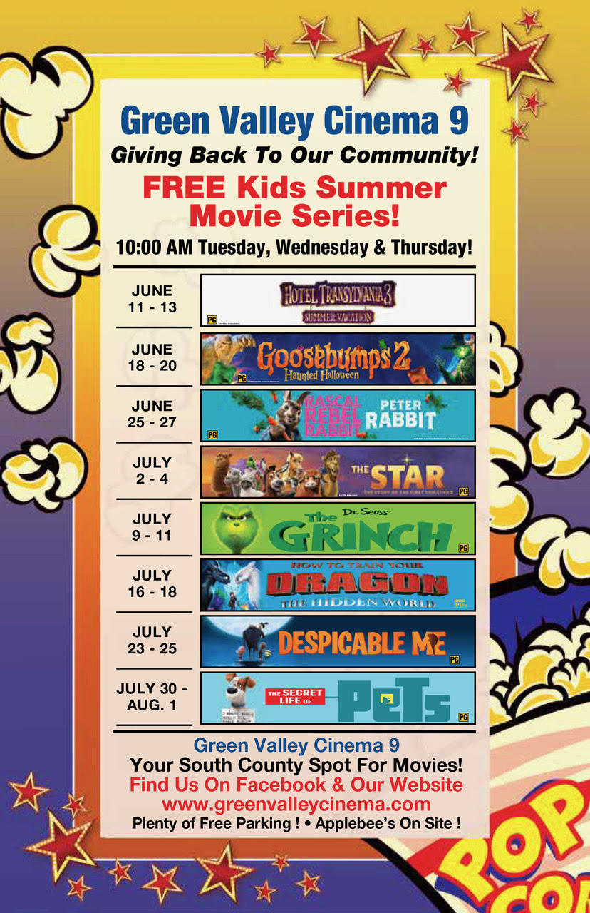 FREE Summer Movies at Green Valley Cinema