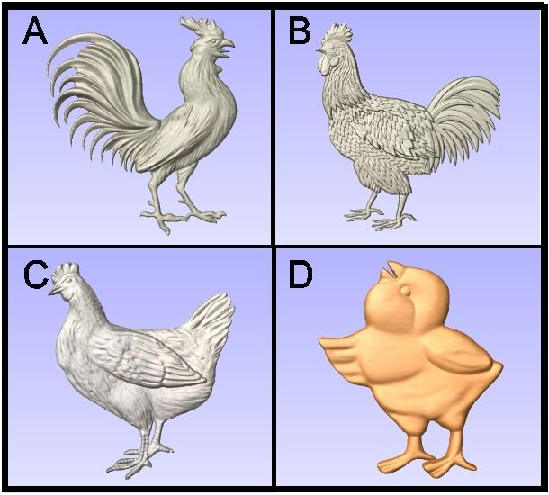 O24999D - Carved Roosters and Chickens