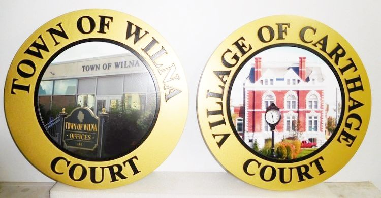 X33323 -  Carved HDU Wall Plaques of the Seals of Two Town Courts, with Photos