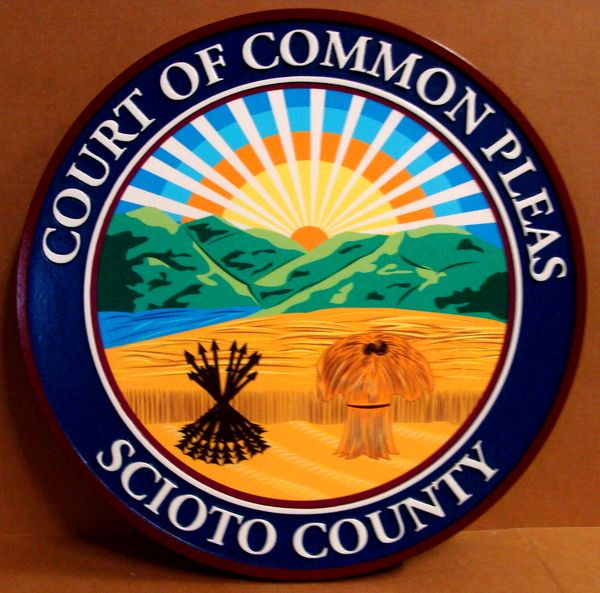 X33384 -  2.5-D Carved HDU Wall Plaque of the Seal of Scioto County,Ohio, for the Court of Common Pleas