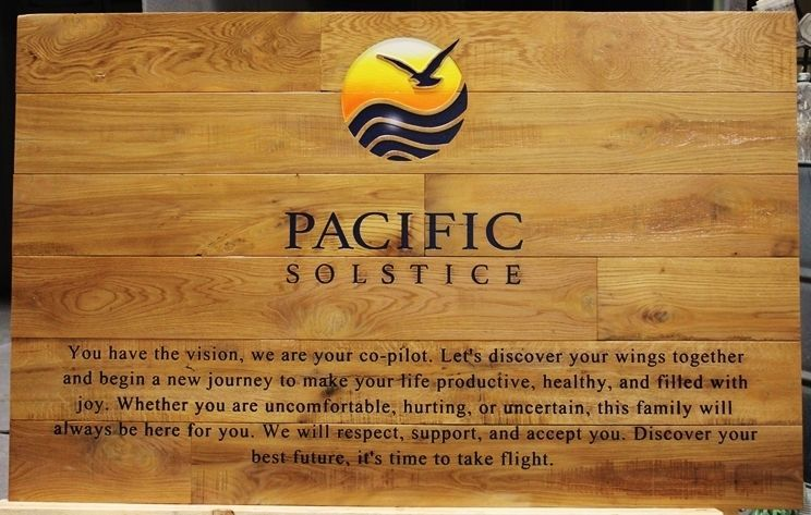 """B11141 - Engraved Wood Sign for the """"Pacific Solstice"""" Behavior Health Center  with its Logo, a Stylized Seagull Flying over Ocean Waves at Sunset, as Artwork"""