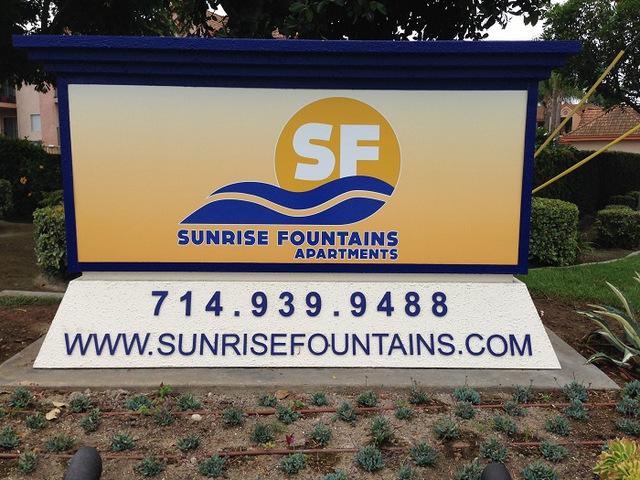 Apartment complex monument signs Anaheim CA