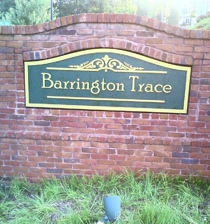 K20010 - Formal Community Entrance Sign for Barrington Trace Community, Sign Mounted on Used Brick Monument Base