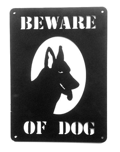 """M7620- Cut-out Wrought Iron Plaque,"""" Beware of Dog"""", German Shepherd Head"""