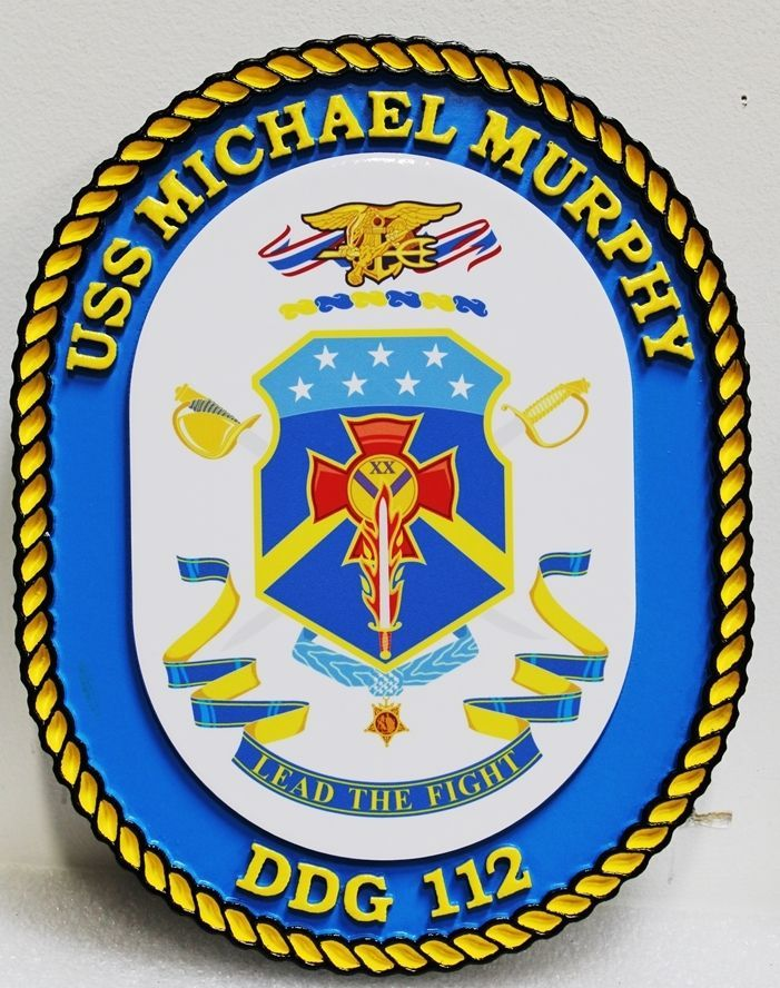 JP-1302 -  Carved 2.5-D HDU Plaque of the Crest of the USS Michael Murphy, DDG 112, US Navy Destroyer