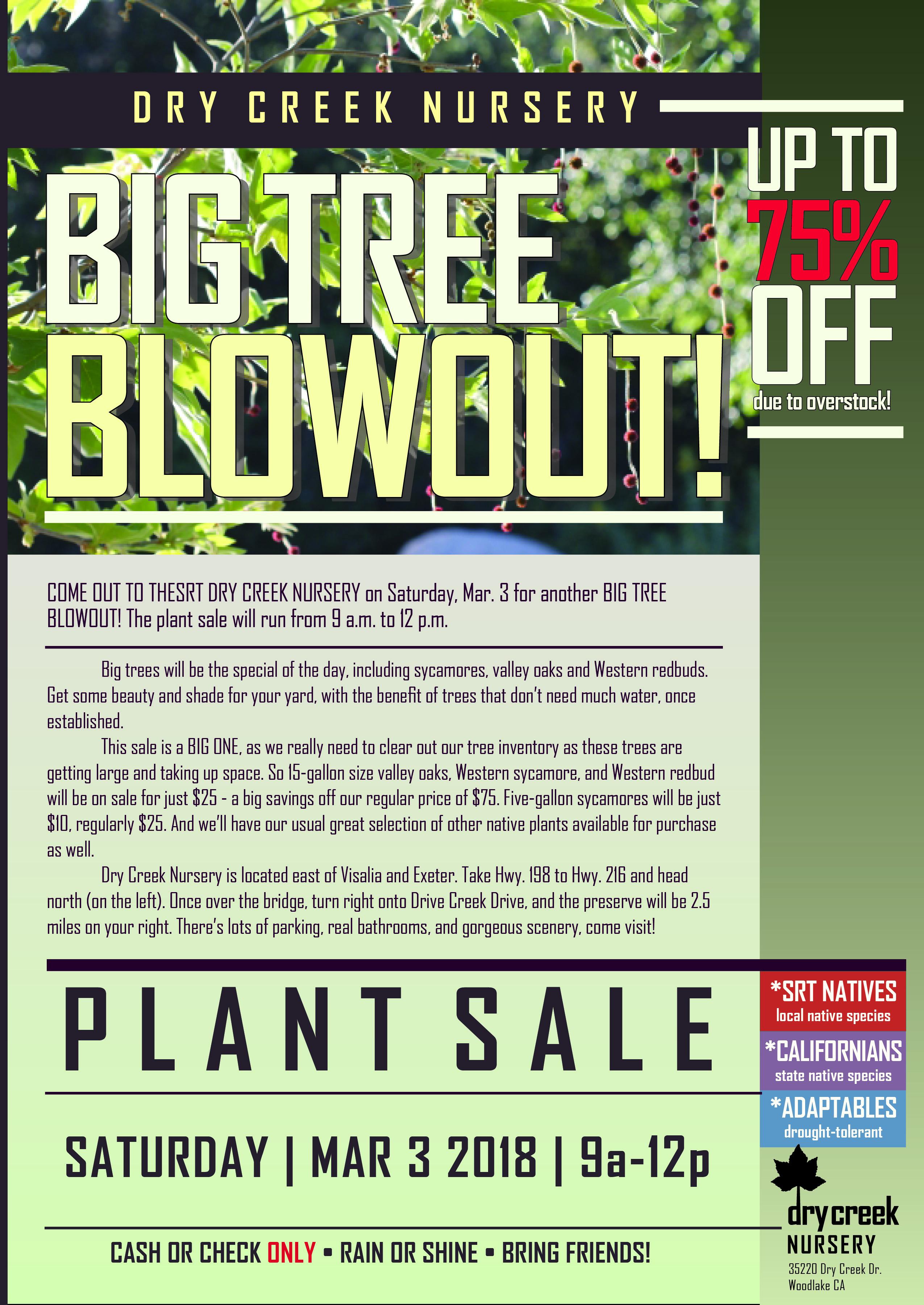 BIG TREE BLOWOUT returns to SRT Dry Creek Nursery Mar. 3
