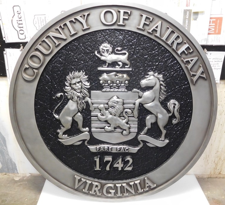 CP-1220 -  Carved Plaque of the Seal of Fairfax County, Virginia,  Aluminum Plated with Hand-Rubbed Black Paint