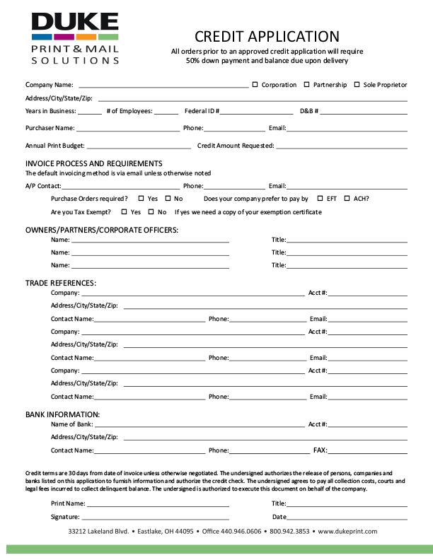 DUKE Customer Center Credit Application