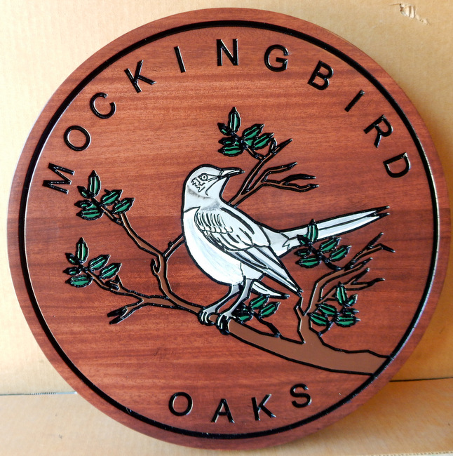"""I18518 - Engraved Mahogany """"Mockingbirds Oaks"""" Property Name  Sign, with Mockingbird Perched  on a Branch"""