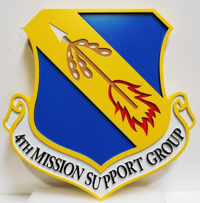 LP-3030 - Carved Plaque of the Shield Crest of the 4th Mission SupportGroup , Artist Painted