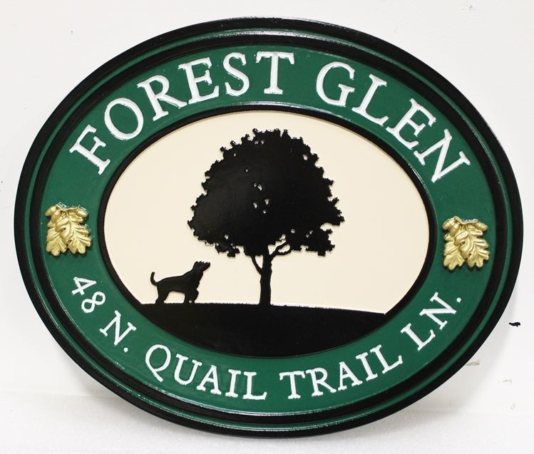 """I18329 - Carved HDU Property Name and Address Sign """"Forest Glen"""", with the Silhouette of a LoneTree and Dog as Artwork"""