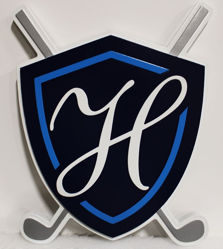 E14152 - Carved  Logo Sign for a Country Club, 2.5-D Artist Painted, with Monogramed Shield and Golf Club Logo as Artwork