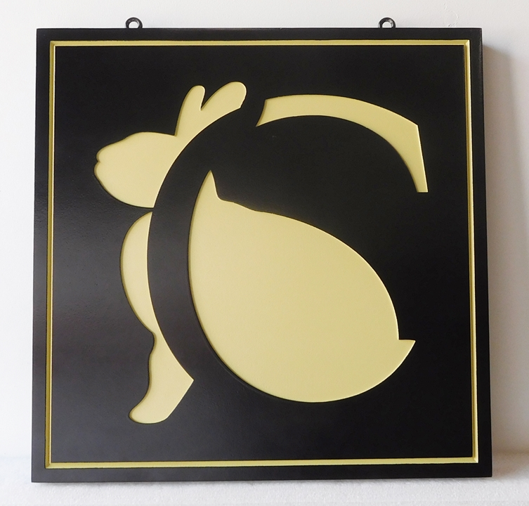 SA28497 - Carved Engraved HDU Sign Featuring a Logo (a Rabbit)  for a Retail Store