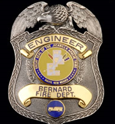 QP-1065 - Carved Wall Plaque of the Fire Department Badge of  Bernard,, Aluminum Plated with Hand-Rubbed Black Paint