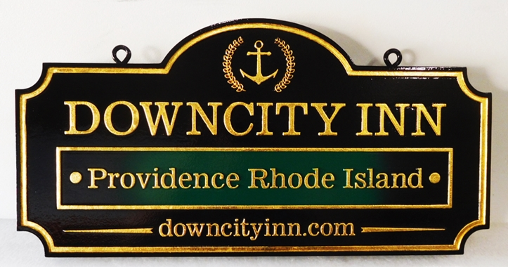 "T29013 - Carved Sign for the ""DownCity Inn"", 2.5-D Raised Text, 24K Gold-Leaf Gilded"