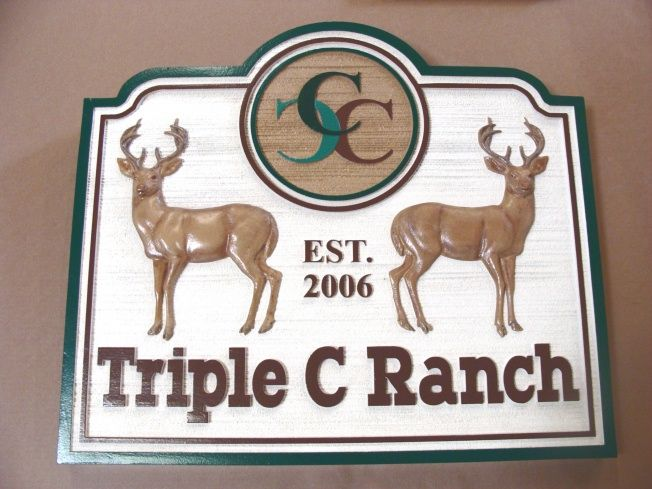 O24551- Ranch Sign with Buck Deer