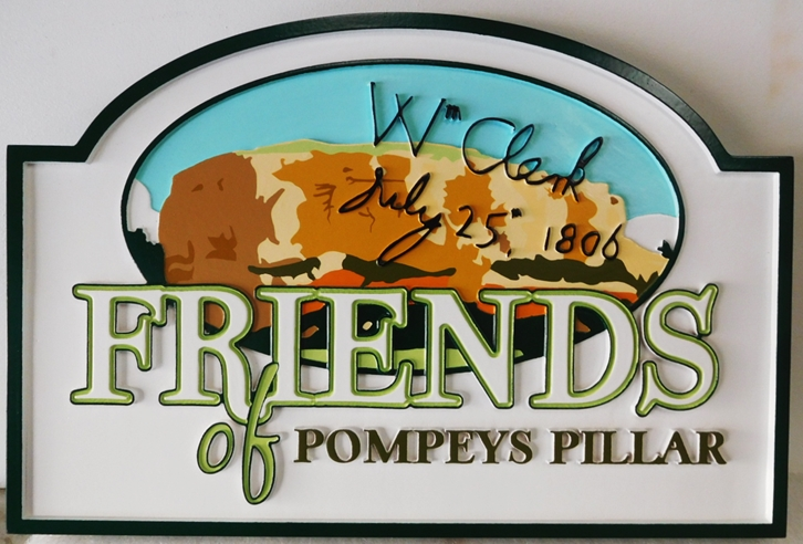 "G16327 - Carved  HDU Sign for the ""Friends of Pompey's Pillar"" , National Monument, with Artist-Painted Scene"