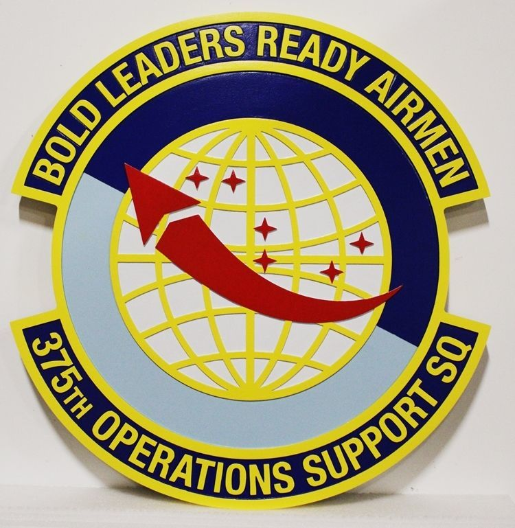 LP-2330 -0 Carved 2.5-D HDU Plaque of the Crest of the 375th Operations Support Squadron, US Air Force