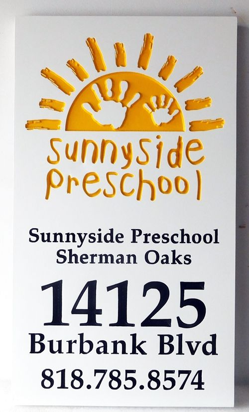 "FA15924 - Carved  Address Sign ""Sunnyside Preschool"", 2,5-D Engraved with Sun Logo as Artwork"