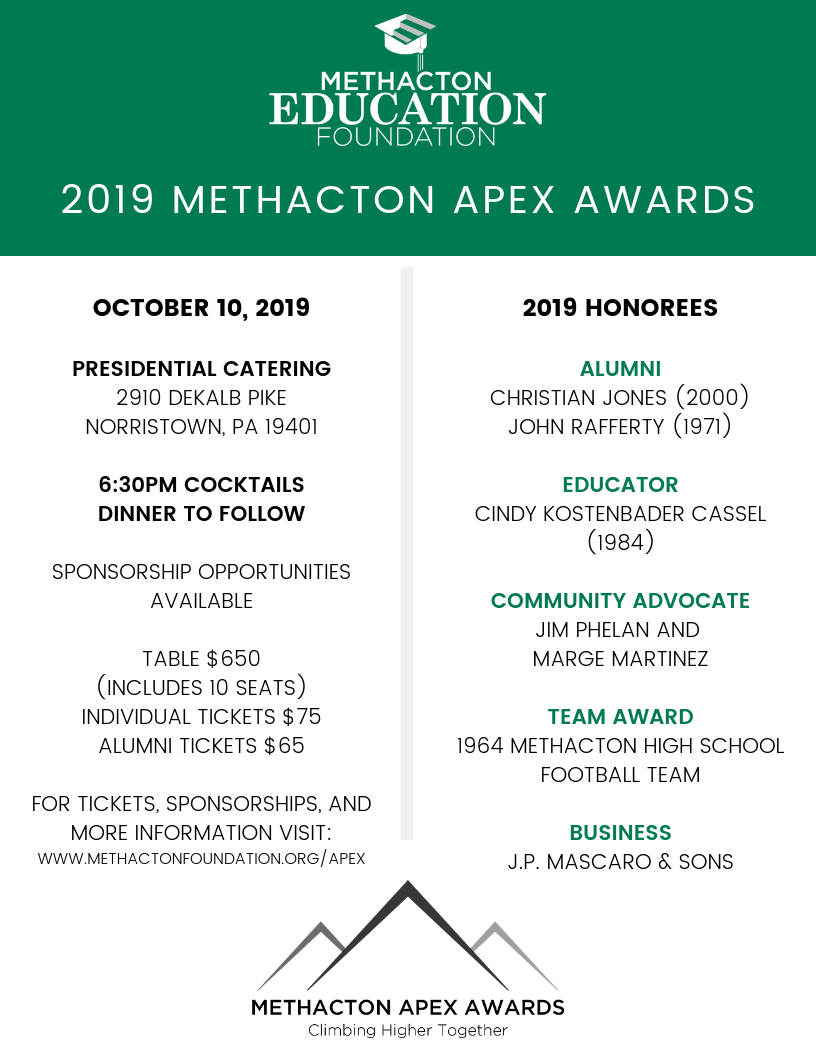 Methacton Apex Awards Honorees Announced