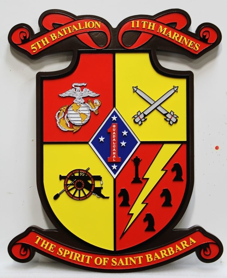 CB5340 - Crest of the 5th Battalion,11th Marine Regiment, First Marine Division,  Multi-level Raised and Outline Relief