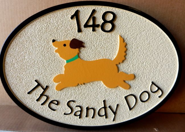 I18606 - Sandblasted Home Address Sign, with a Happy Dog as Carved Artwork