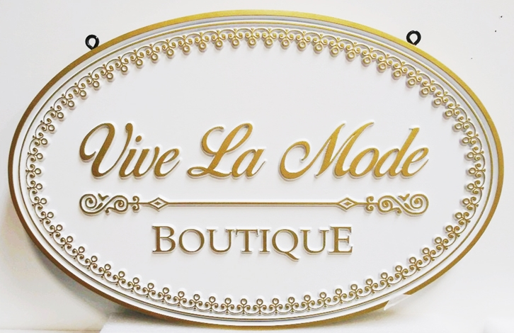 "SA28324 - Carved Sign for the ""Vive La Mode""  Boutique,  2.5-D Artist-Painted"