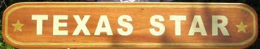 """M3813 -  Carved Mahogany Wood Sign """"Texas Star"""" with 2 Carved, 24K Gold-Leaf Gilded Texas Stars (Gallery 20, page 3)"""