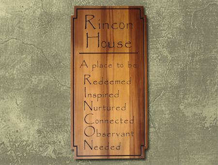 "I18935 - Cedar Engraved Wall Plaque for Residence, ""RINCON House"""